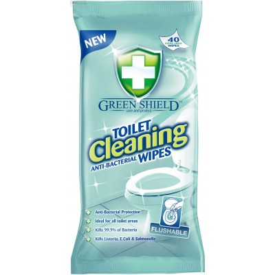 GREENSHIELD ANTI-BACTERIAL TOILET / HAND SANITISER 10 PACKS 40 WIPES PER PACK