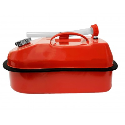 Horizontal / Flat Jerry / Fuel Metal Can Red 10 Litre Screw Top