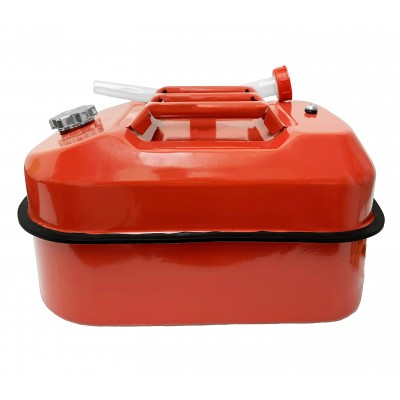 Horizontal / Flat Jerry / Fuel Metal Can Red 20 Litre