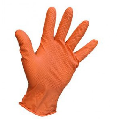 Disposable Orange Nitrile Grip Gloves-Medium