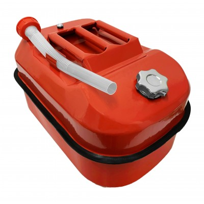 Horizontal / Flat Jerry / Fuel Metal Can Red 20 Litre Screw Top
